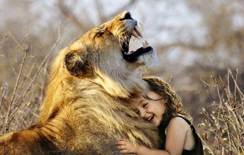 ライオンと戯れる少女