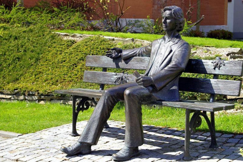 ベンチに座っている銅像