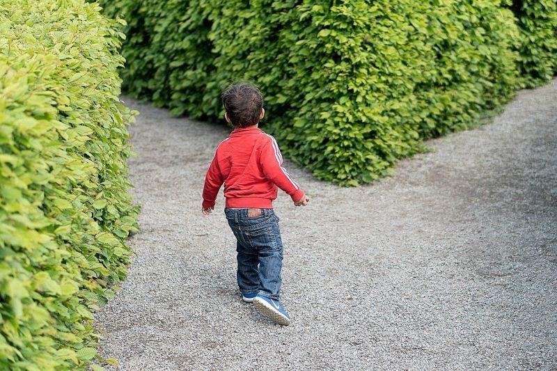 どちらの道を選ぶか迷う子供