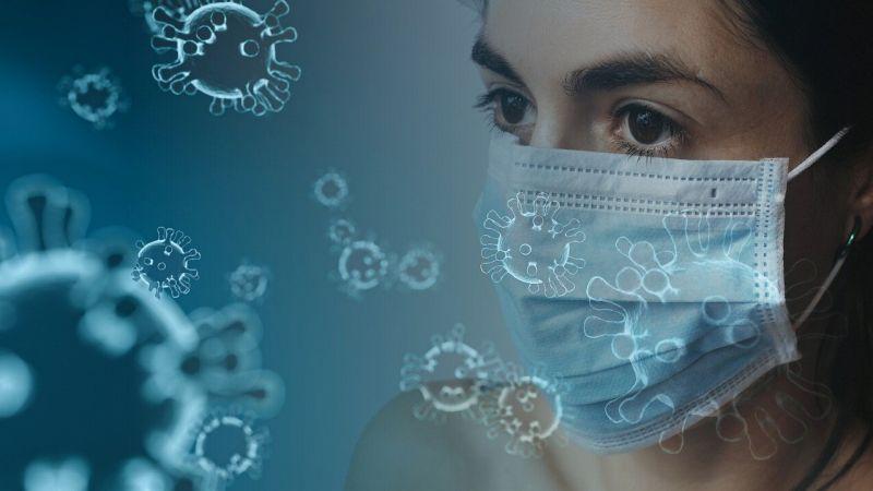 コロナウイルスとマスクをする人