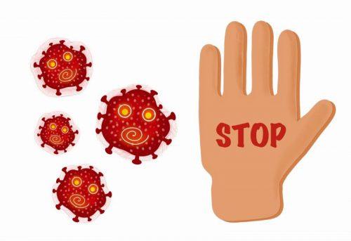 コロナウイルスを拒む手